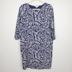 Garnet Hill Bell Sleeve Printed Silk Shift Dress